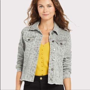 Kut from the Kloth Kara Gray Leopard Denim Jacket